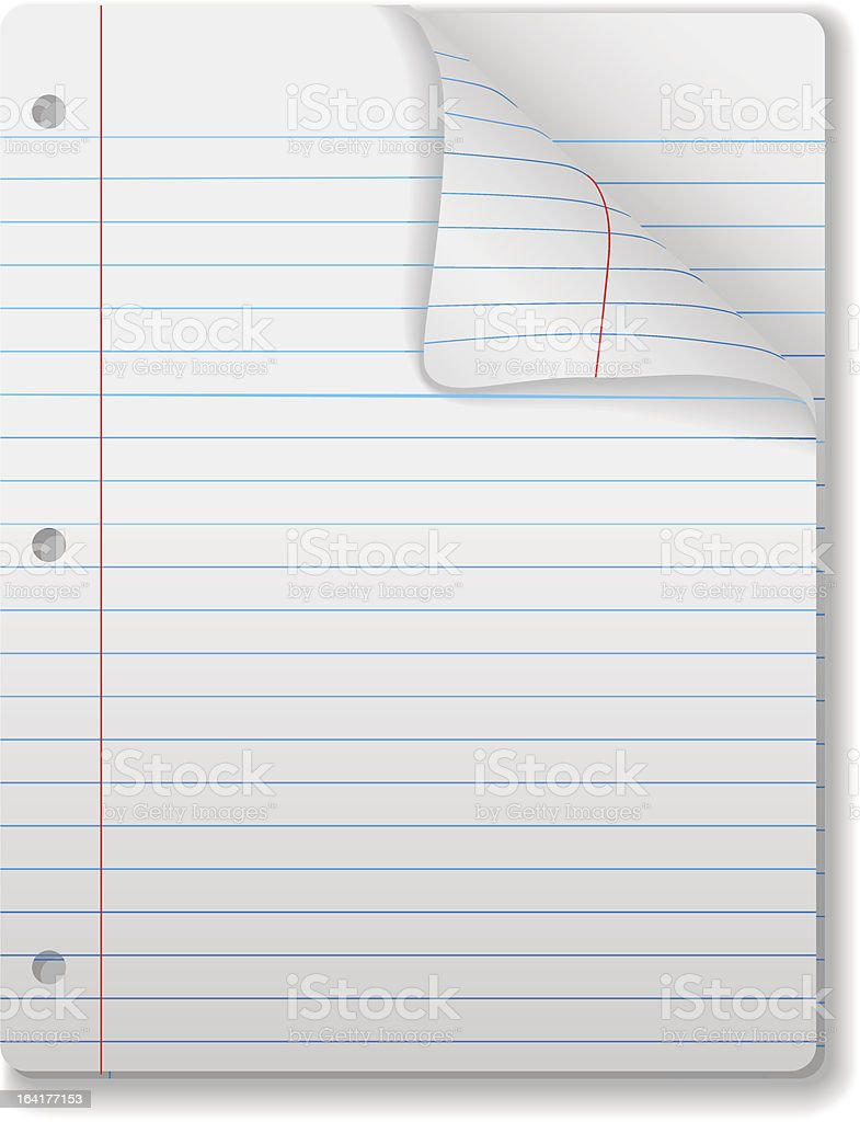 Wide Ruled Notebook Paper Pages & Page Curl Background vector art illustration