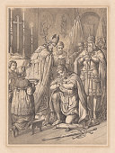 Widukind's baptism in 785, lithograph, published in 1865