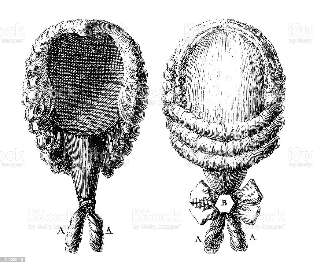 Wig with a ponytail (antique engraving) vector art illustration