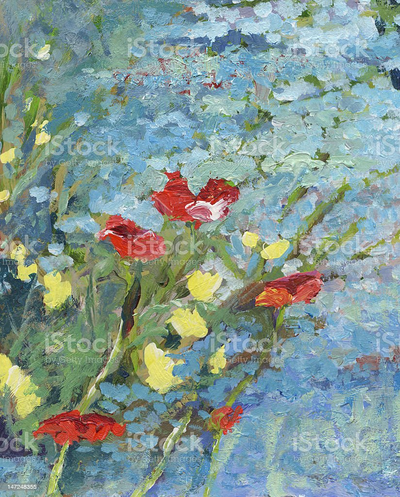 Wild Flowers at Waters Edge vector art illustration