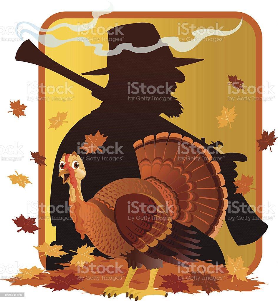 Wild Turkey in Hunter's Shadow vector art illustration