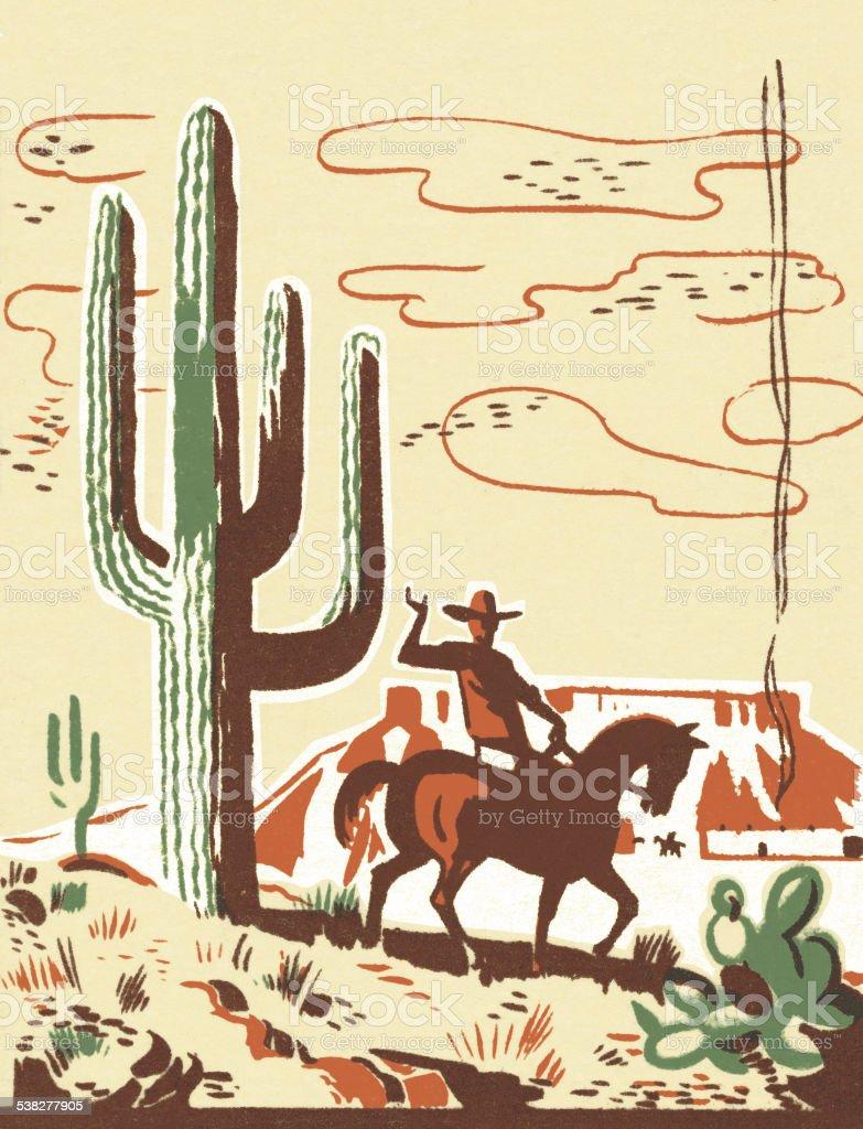 Wild West Scene vector art illustration