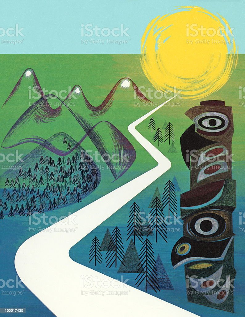 Wilderness Road and Totem Pole royalty-free stock vector art