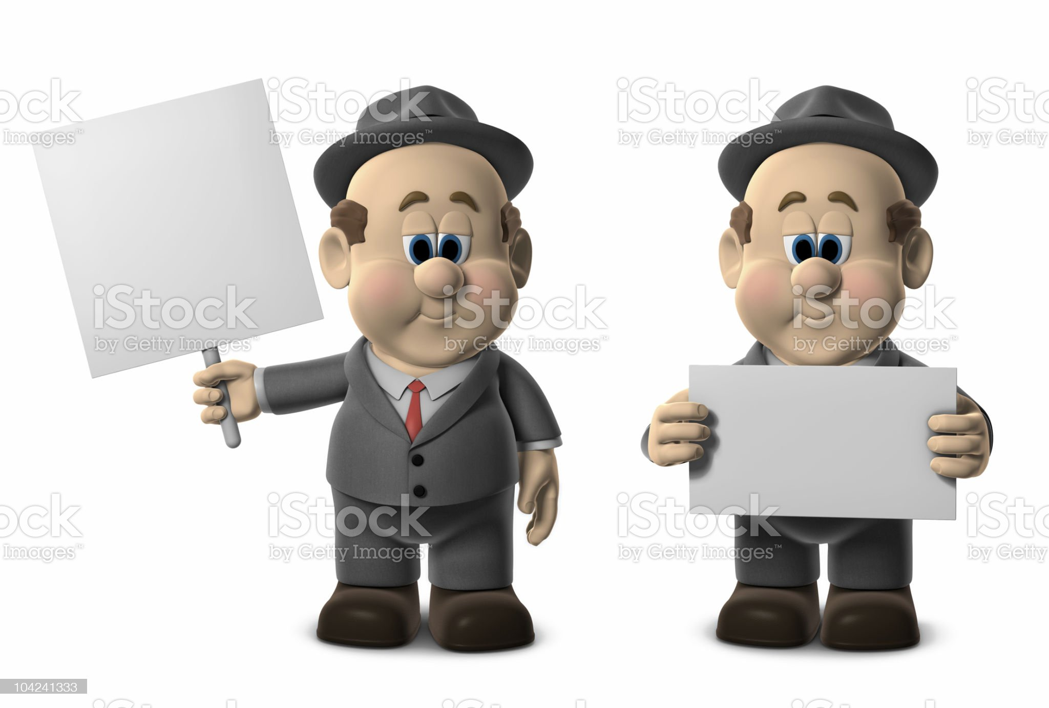 Wilfred Holding Blank Signs royalty-free stock vector art