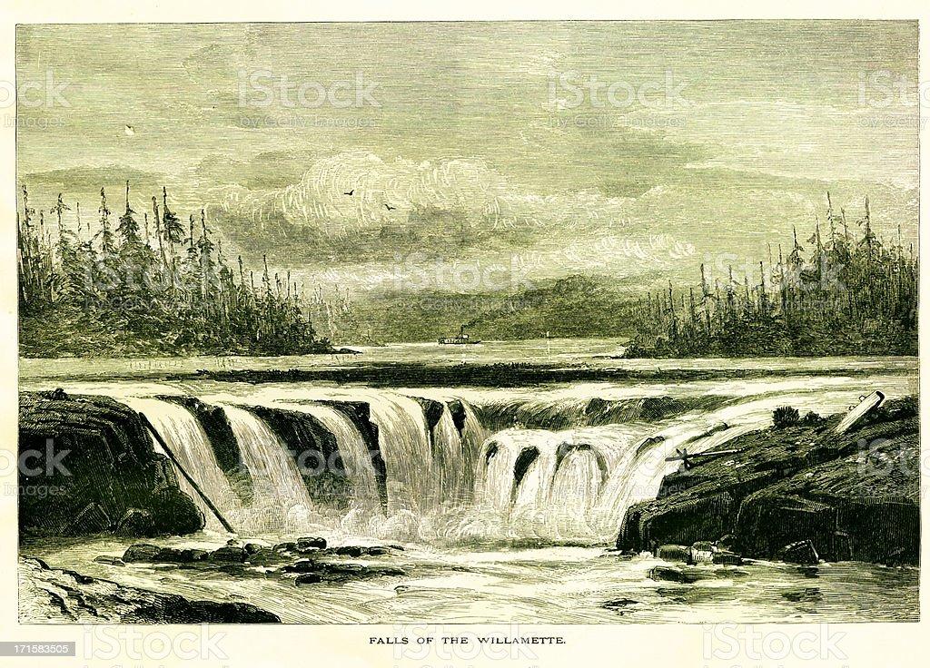 Willamette Falls, Oregon | Historic American Illustrations royalty-free stock vector art
