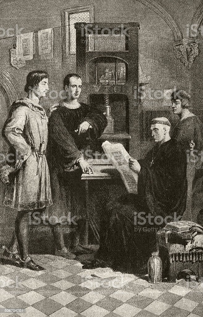 William Caxton showing printing proofs to the Abbot of Westminster vector art illustration