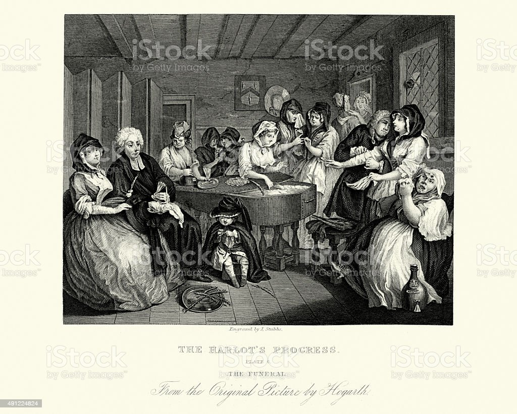 William Hogarth A Harlot's Progress vector art illustration
