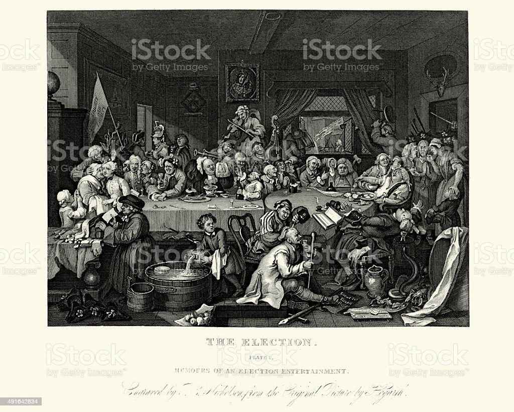 William Hogarth Four Humours of an Election vector art illustration