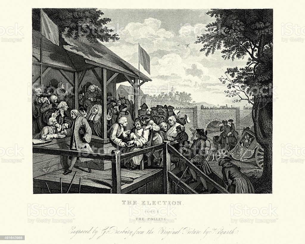William Hogarth Four Humours of an Election The Polling vector art illustration