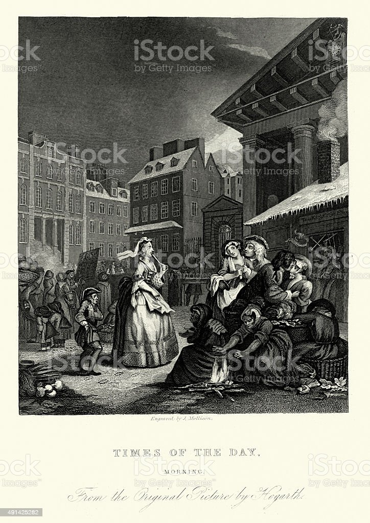 William Hogarth Four Times of the Day - Morning vector art illustration