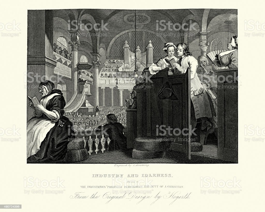 William Hogarth Industry and Idleness Duty of a Christian vector art illustration