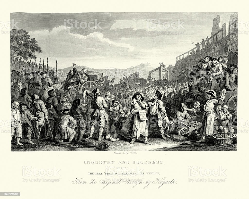 William Hogarth Industry and Idleness Idle Prentice Executed at vector art illustration