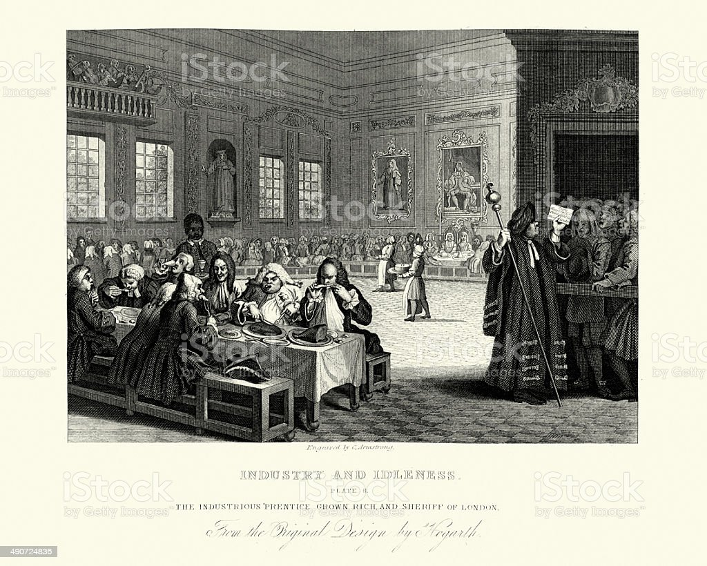 William Hogarth Industry and Idleness Industrious Prentice grown vector art illustration