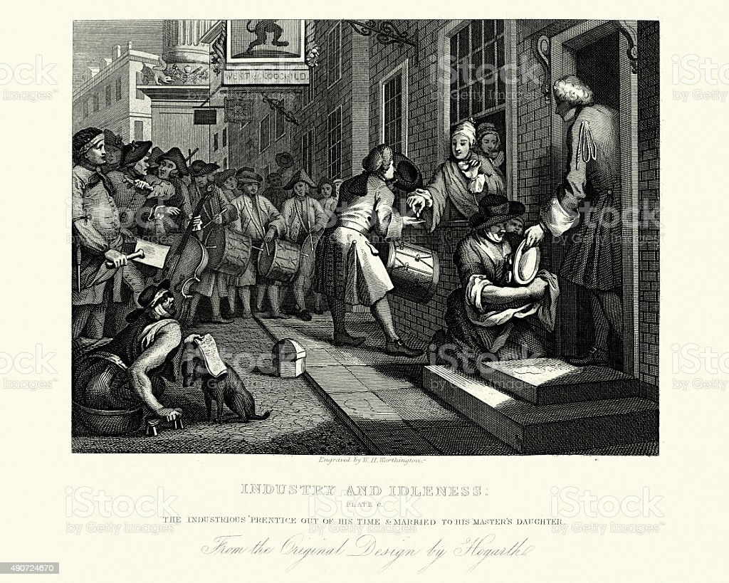William Hogarth Industry and Idleness Married to his Master's Da vector art illustration