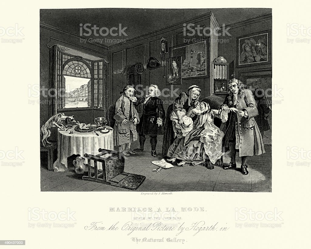 William Hogarth Marriage A La Mode The Lady's Death vector art illustration