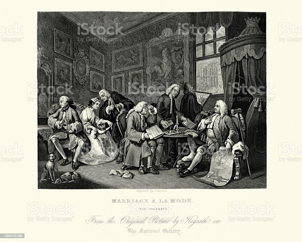William Hogarth Marriage A La Mode The Settlement vector art illustration