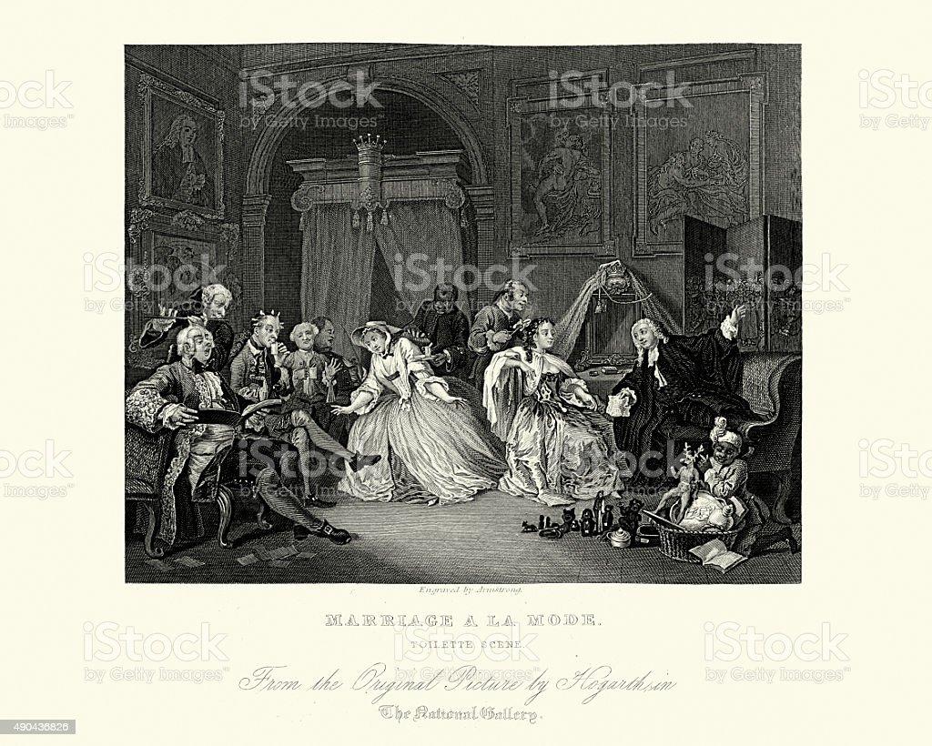 William Hogarth Marriage A La Mode The Toilette vector art illustration