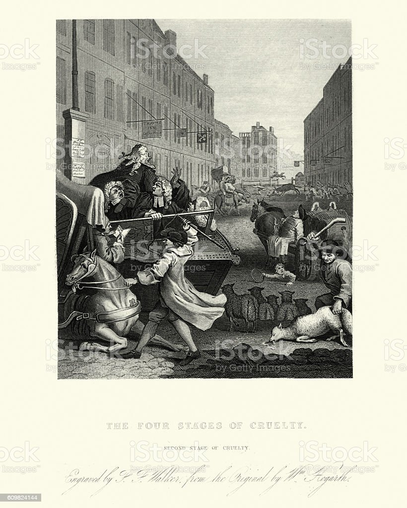 William Hogarth The Four Stages of Cruelty vector art illustration