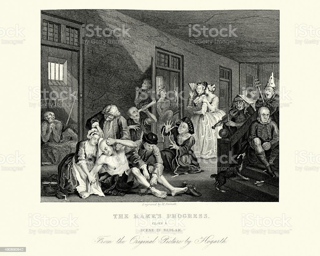 William Hogarth The Rake's Progress - In Bedlam vector art illustration