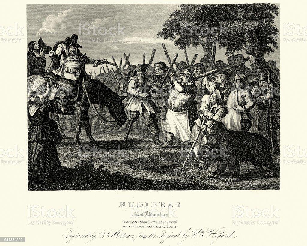 William Hogarth's Illustrations for Samuel Butler's Hudibras vector art illustration