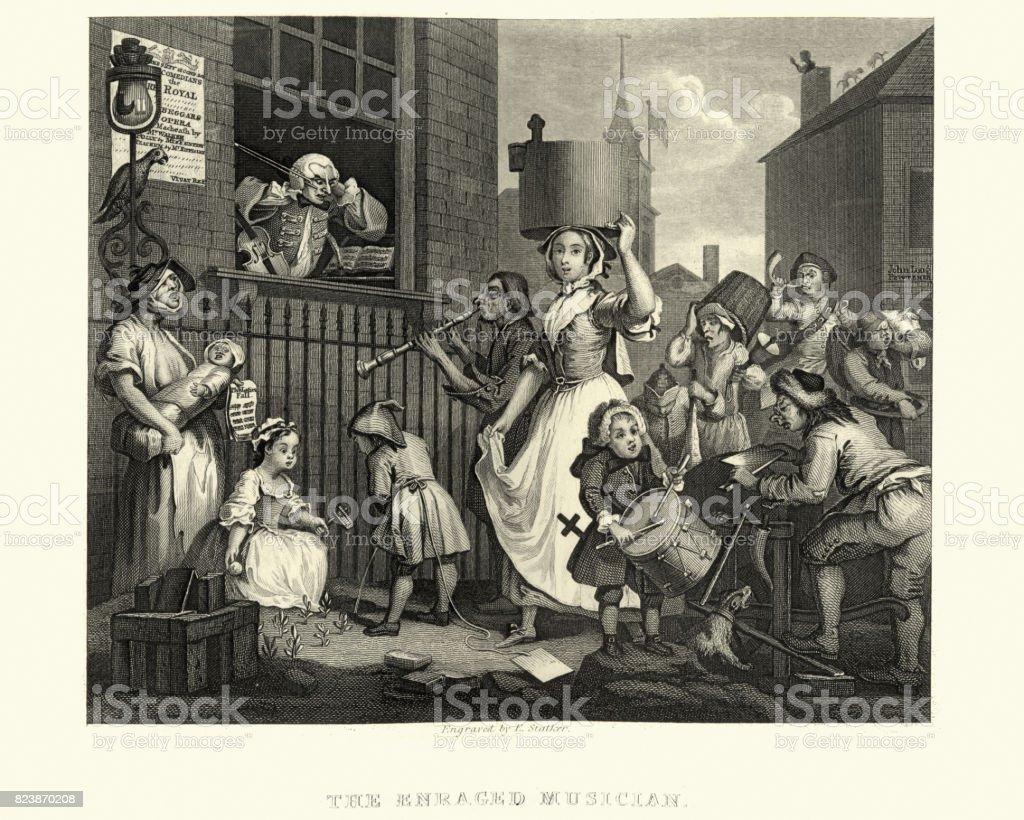 William Hogarth's The Enraged Musician vector art illustration