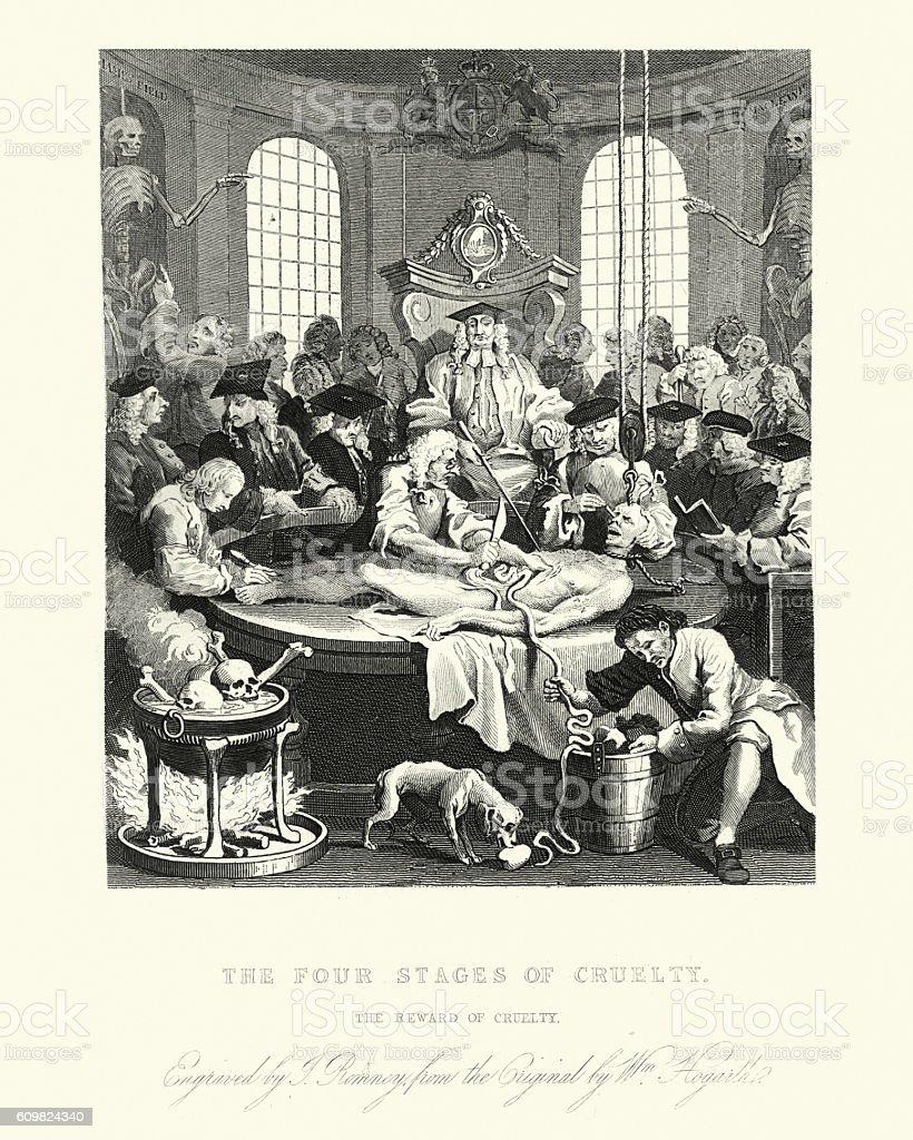 William Hogarth's The reward of cruelty vector art illustration