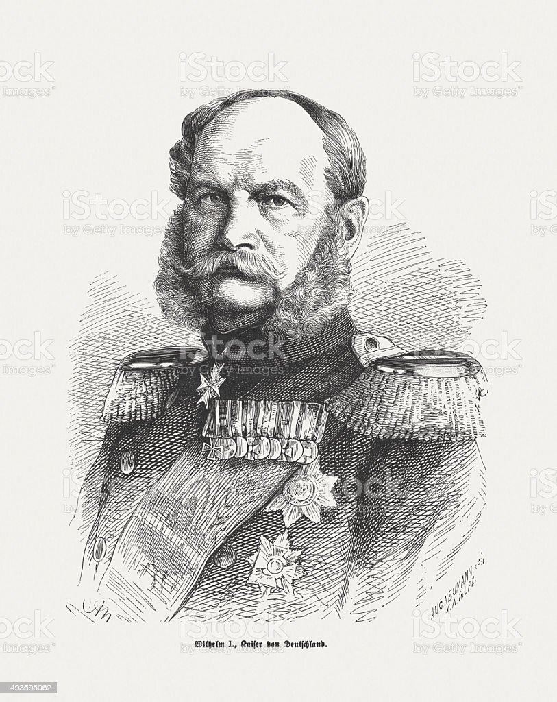 William I (Wilhelm I.), first German Emperor, published in 1871 vector art illustration