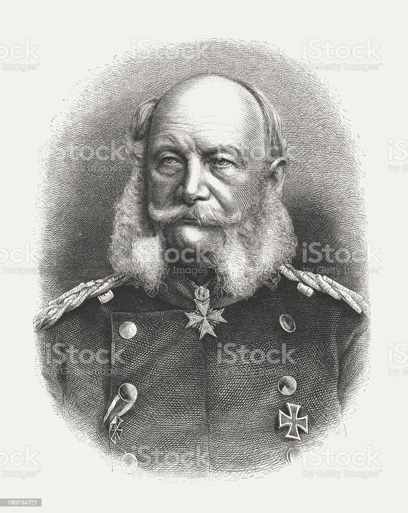 William I (1797-1888), first German emperor, wood engraving, published 1877 royalty-free stock vector art