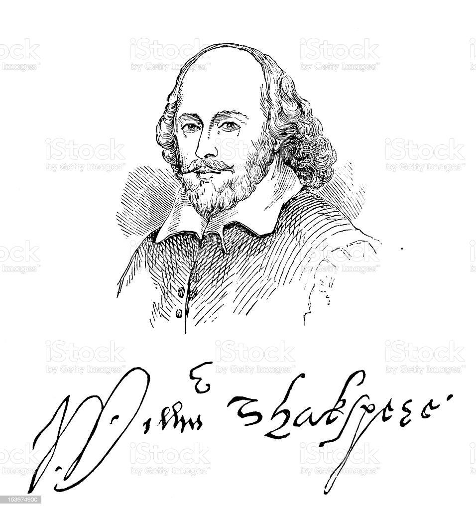 William Shakespeare And His Signature vector art illustration