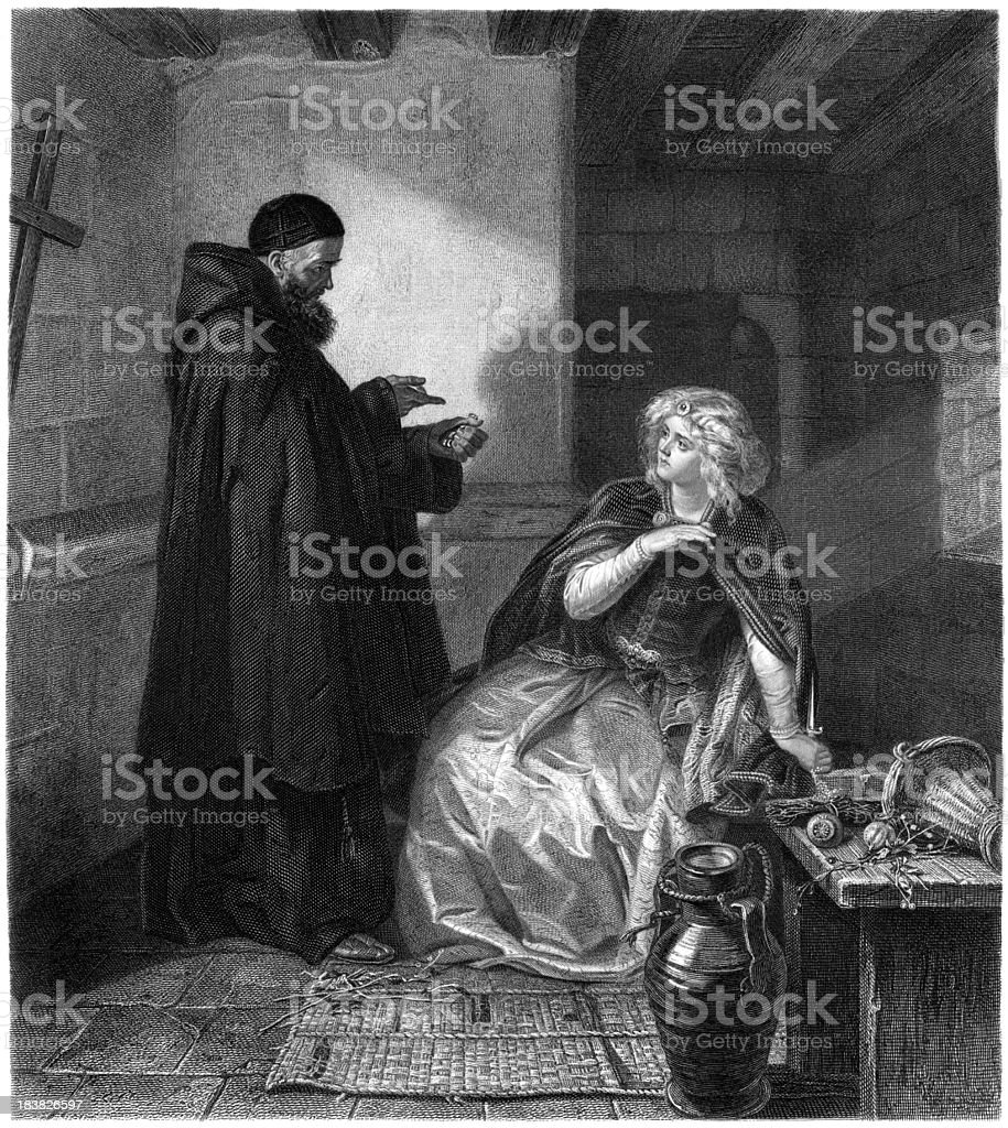 William Shakespeare: Cell of Friar Lawrence (Romeo and Juliet) (illustration) vector art illustration