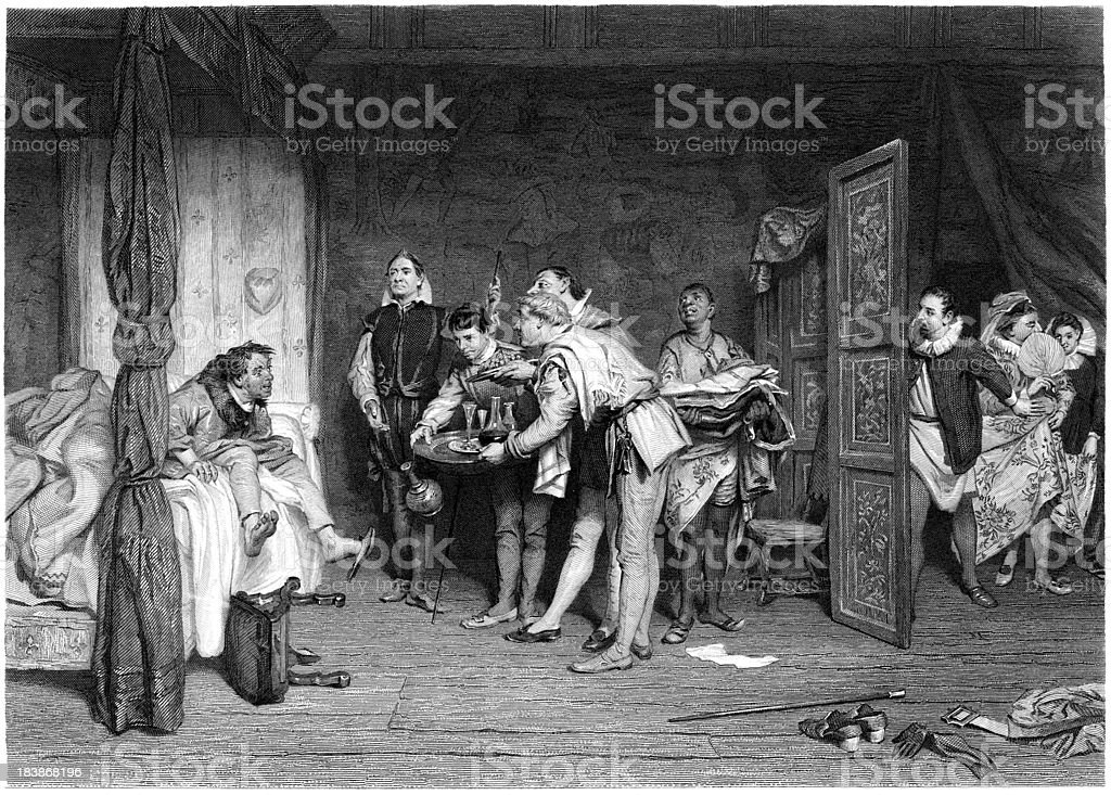 William Shakespeare: Christopher Sly (Taming of the Shrew) (engraved illustration) vector art illustration