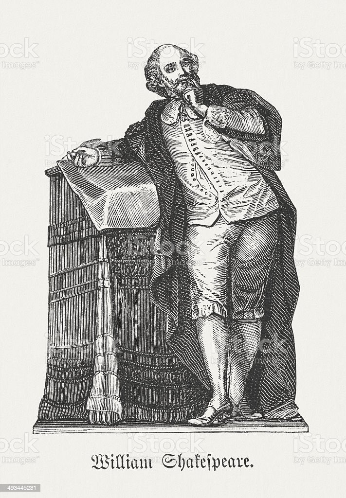 William Shakespeare (1564-1616), English playwright, wood engraving, published in 1881 royalty-free stock vector art
