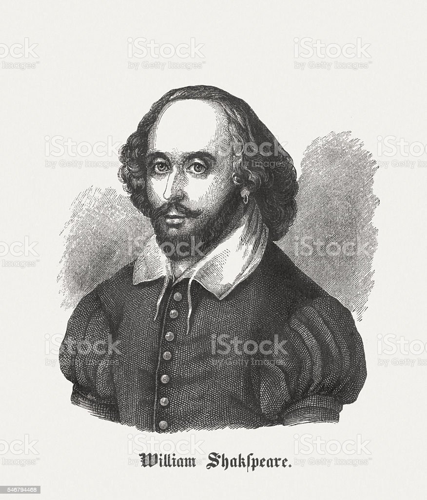 William Shakespeare (c.1564-1616), English playwright, wood engraving, published in 1848 vector art illustration