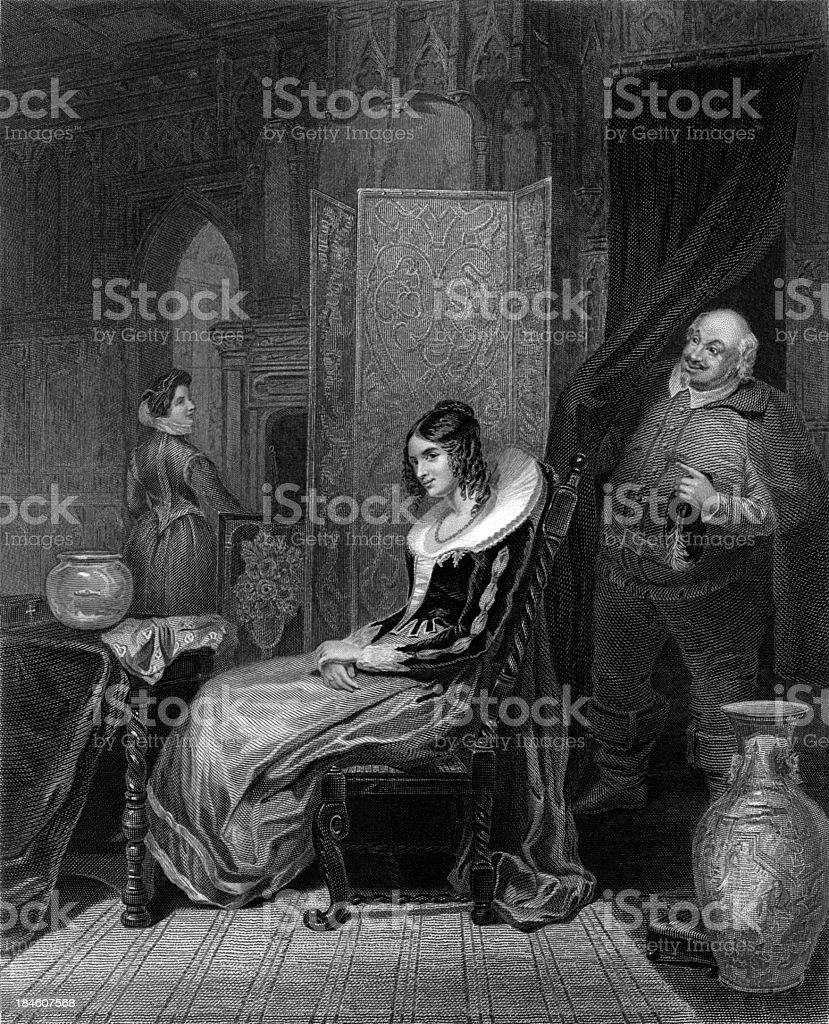 William Shakespeare: Falstaff, Mrs Ford, Merry Wives of Windsor (illustration) royalty-free stock vector art