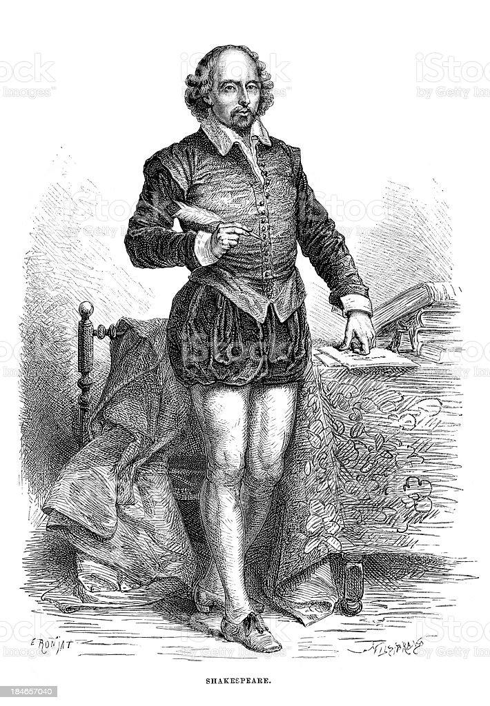 William Shakespeare vector art illustration