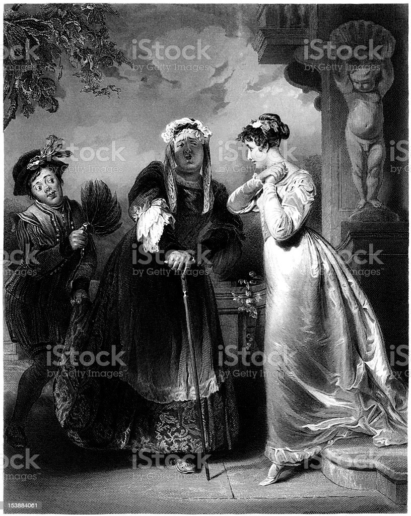 William Shakespeare: Juliet and the Nurse (Engraved illustration) royalty-free stock vector art