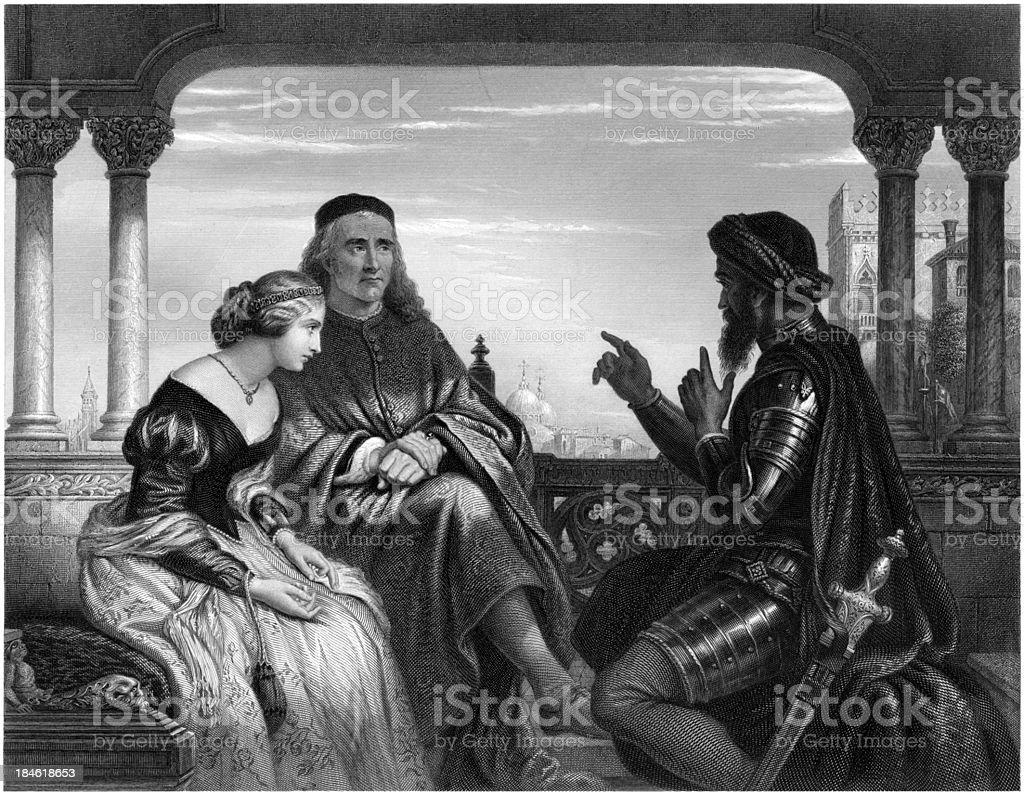 'William Shakespeare: Othello relating his adventures, (illustrat' vector art illustration