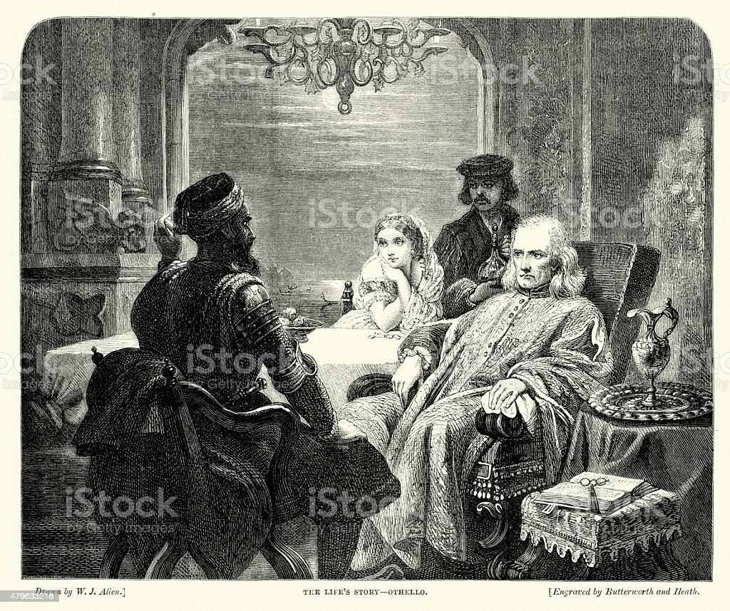 William Shakespeare - Othello's life story vector art illustration