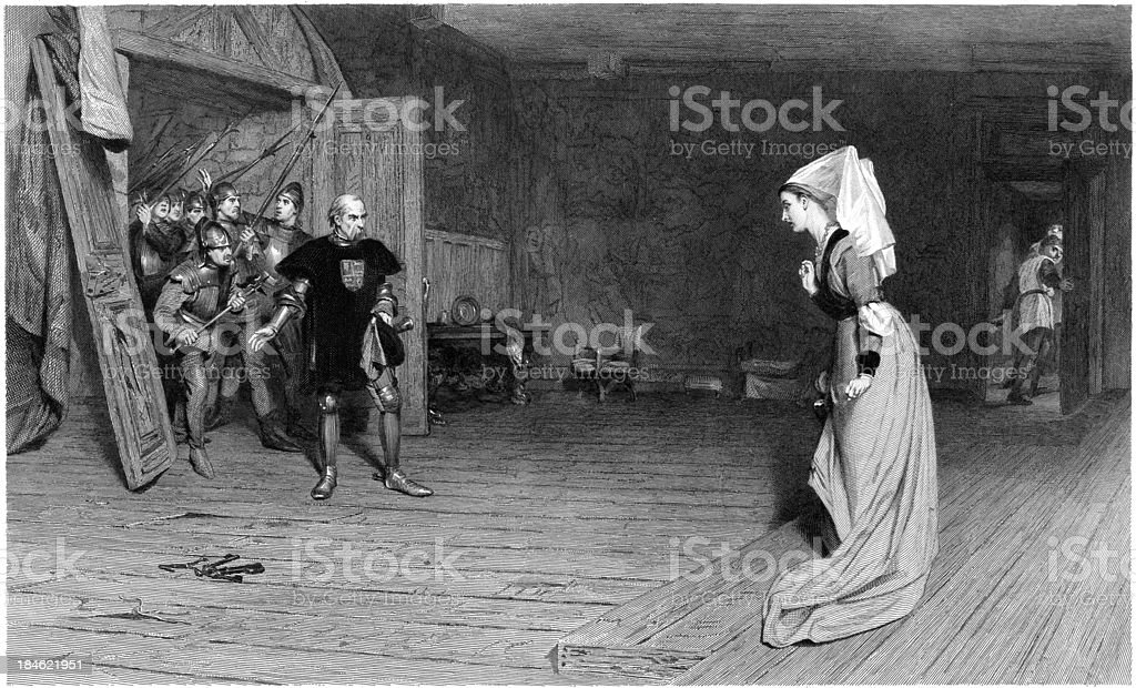 William Shakespeare: Talbot and Countess Auvergne, King Henry VI (illustration) vector art illustration