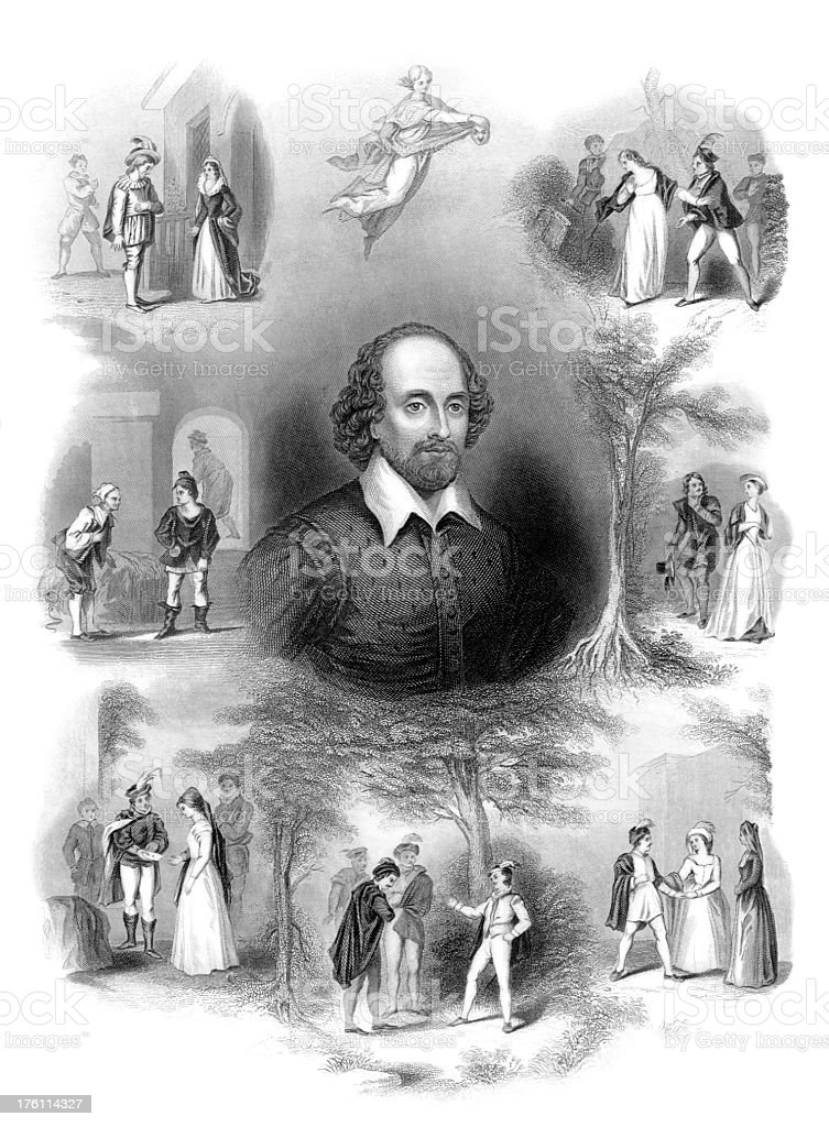 William Shakespeare with Scenes from his Plays royalty-free stock vector art
