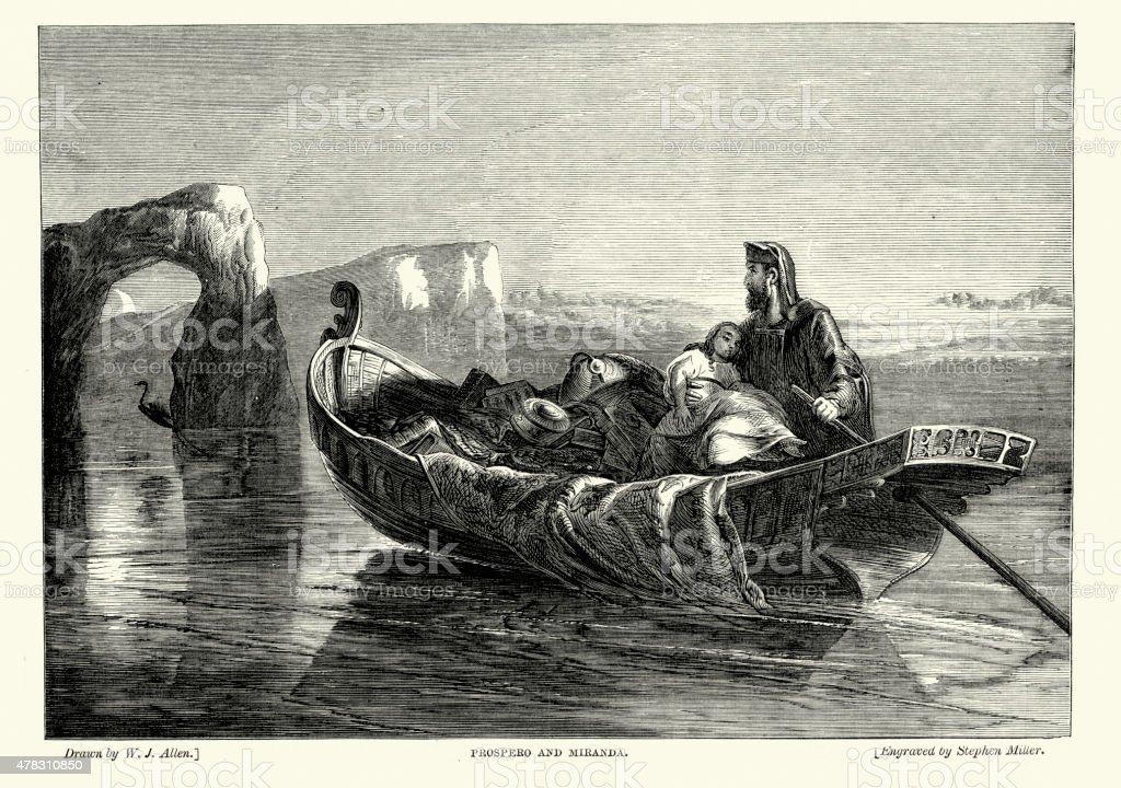 William Shakespeare's The Tempest - Prospero and Miranda vector art illustration