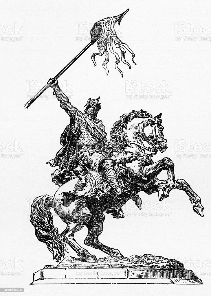 William The Conqueror, 1027-1087, Engraving vector art illustration