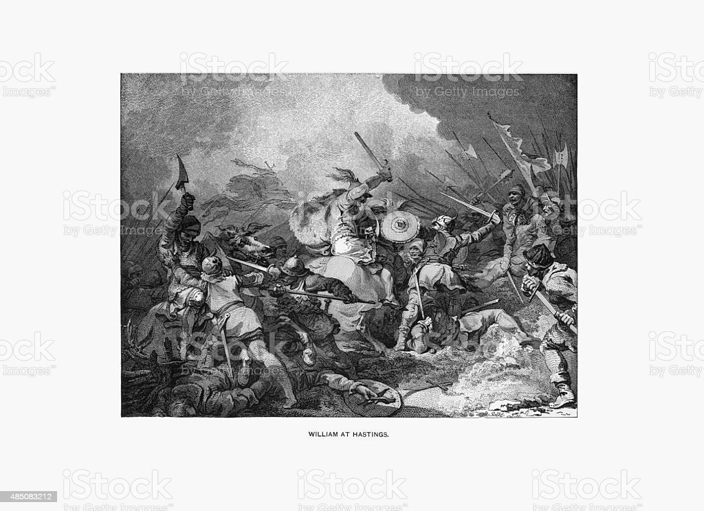 William The Conqueror at the Battle of Hastings Engraving vector art illustration