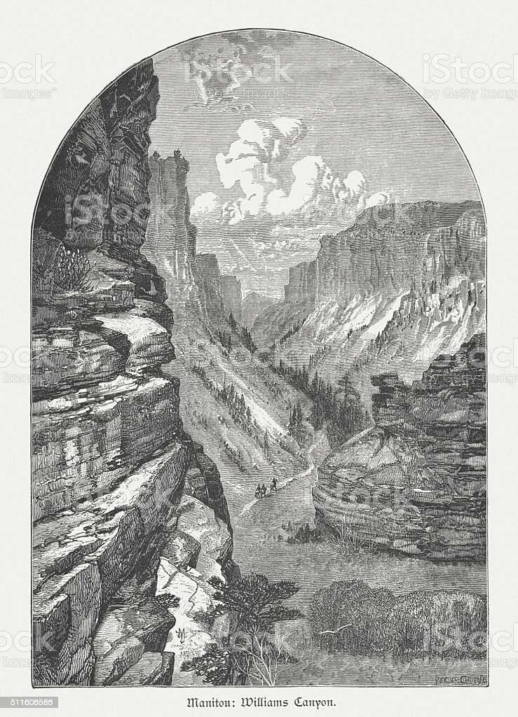 Williams Canyon, Colorado, USA, wood engraving, published in 1880 vector art illustration