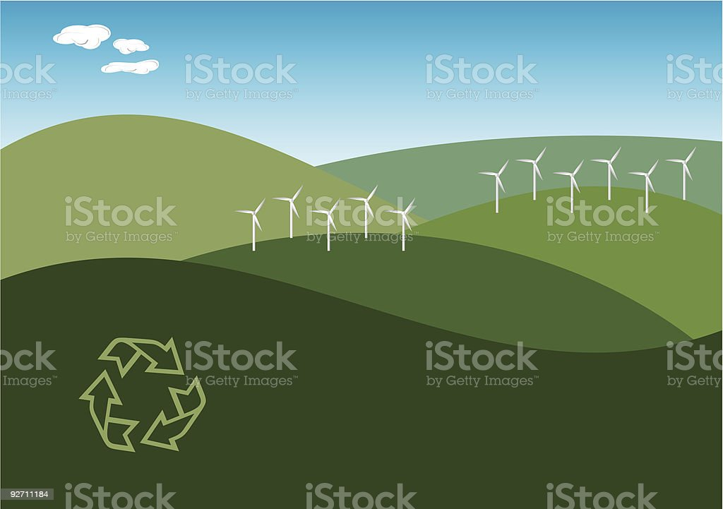 Wind Farm Illustration. royalty-free stock vector art
