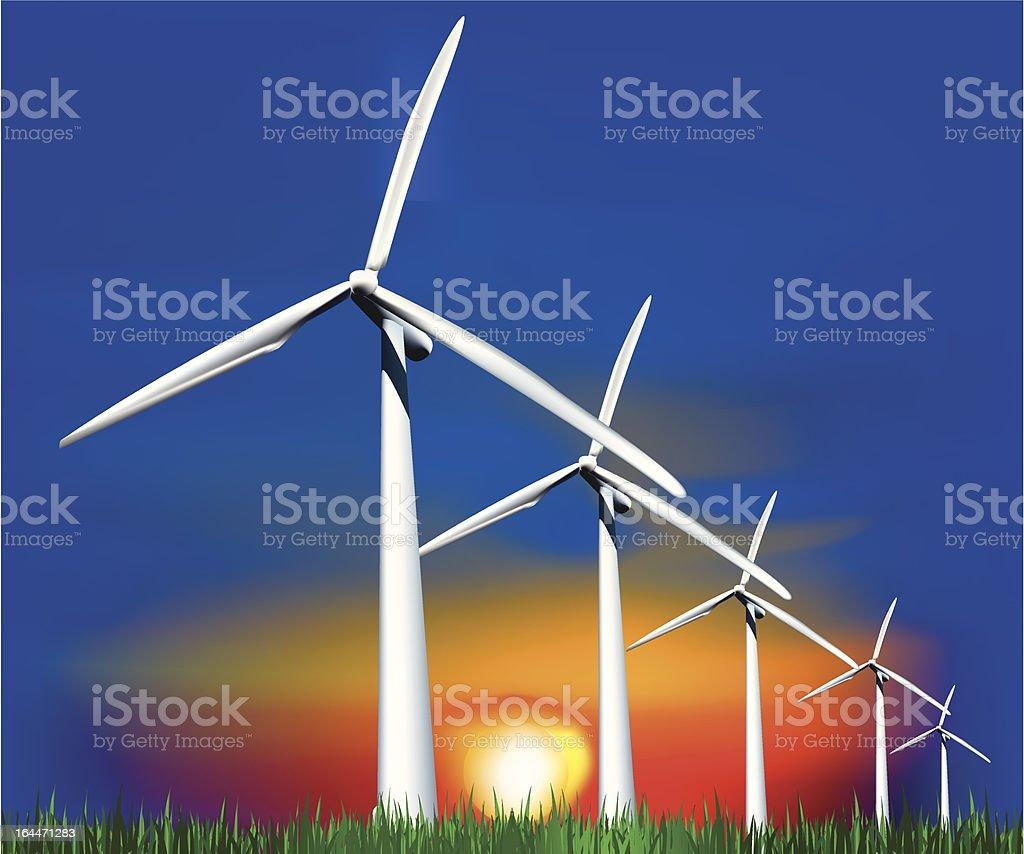 Wind Generators at sunset. Vector royalty-free stock vector art