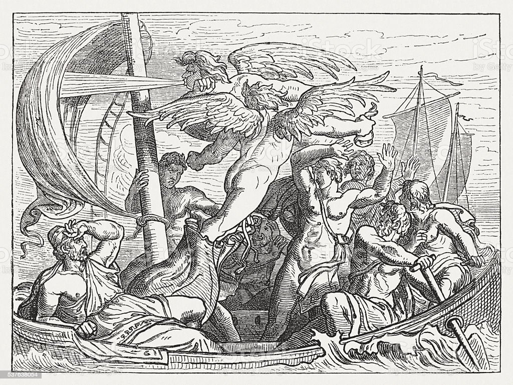 Wind God Aeolus brings Ulysses misfortune, Greek mythology, published 1880 vector art illustration