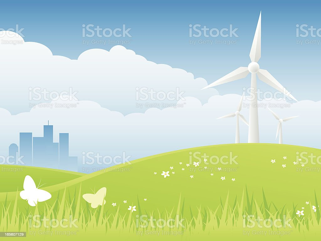 Wind Power - Conservation Background vector art illustration