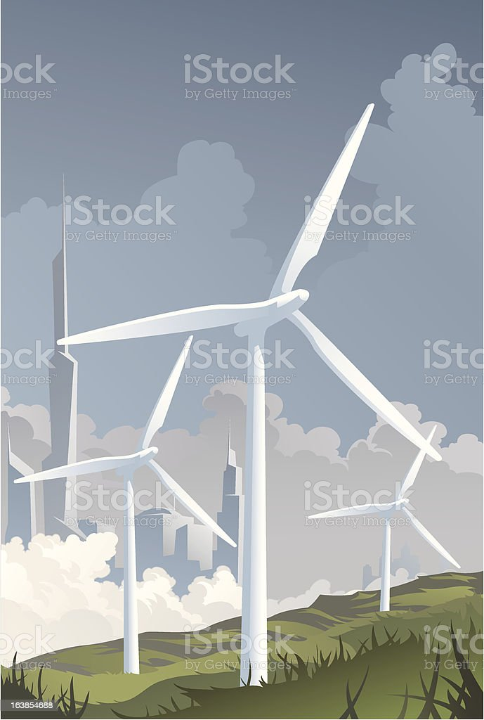 Wind Turbine Cityscape royalty-free stock vector art