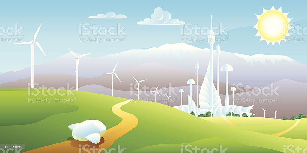 Wind turbines farm with a futuristic city on the background royalty-free stock vector art